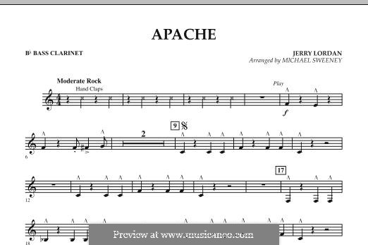 Apache (Percussion Section Feature): Bb Bass Clarinet part by Jerry Lordan