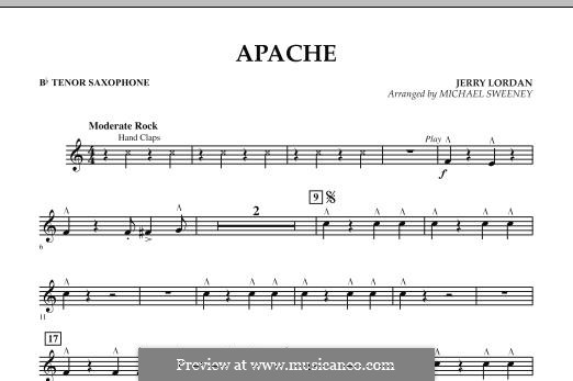 Apache (Percussion Section Feature): Bb Tenor Saxophone part by Jerry Lordan