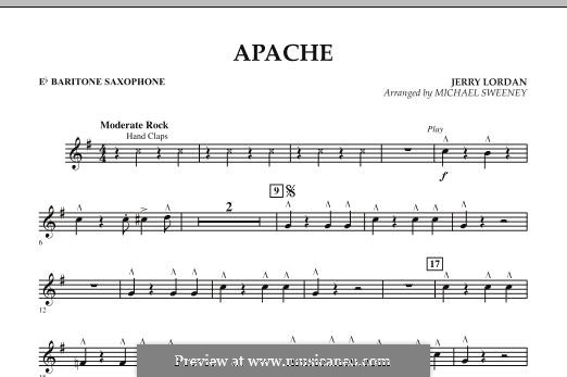 Apache (Percussion Section Feature): Eb Baritone Saxophone part by Jerry Lordan