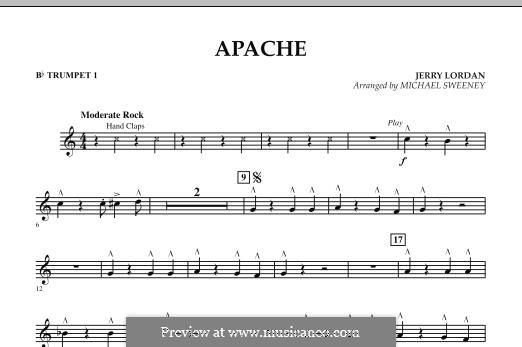 Apache (Percussion Section Feature): Bb Trumpet 1 part by Jerry Lordan
