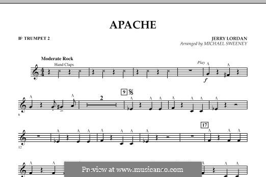 Apache (Percussion Section Feature): Bb Trumpet 2 part by Jerry Lordan