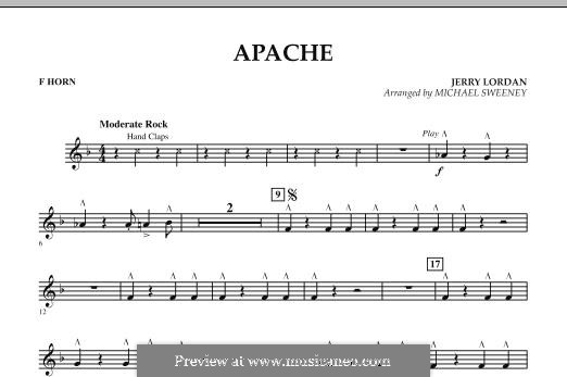 Apache (Percussion Section Feature): F Horn part by Jerry Lordan
