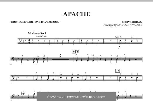 Apache (Percussion Section Feature): Trombone/Baritone B.C./Bassoon part by Jerry Lordan