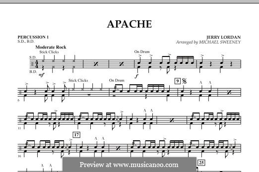 Apache (Percussion Section Feature): Percussion 1 part by Jerry Lordan