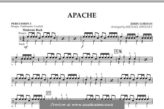 Apache (Percussion Section Feature): Percussion 3 part by Jerry Lordan