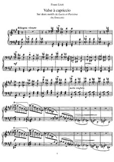 Transcription on Themes from 'Lucia et Parisina' by Donizetti, S.401: For piano by Franz Liszt