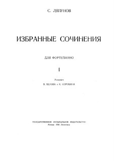 Selected Works for Piano: Book I, Movement I by Sergei Lyapunov
