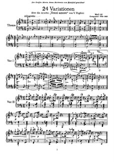 Twenty-Four Variations on Arietta 'Venni Amore' by Righini, WoO 65: For piano by Ludwig van Beethoven