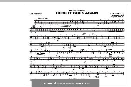 Here It Goes Again (OK Go): 3rd Bb Trumpet part by Damian Kulash