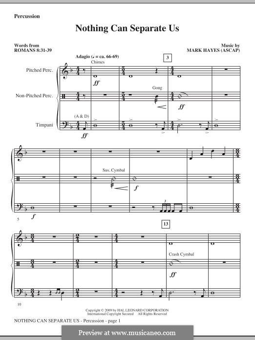 Nothing Can Separate Us: Percussion part by Mark Hayes