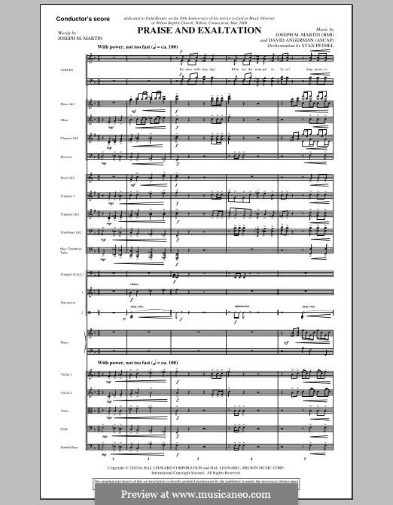 Praise and Exaltation: Score by David Angerman, Joseph M. Martin