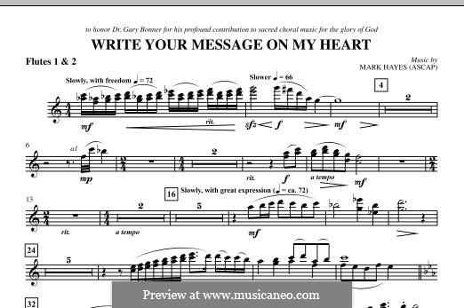 Write Your Message On My Heart: Flute 1 & 2 part by Mark Hayes