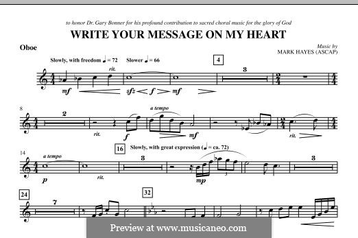Write Your Message On My Heart: Oboe part by Mark Hayes