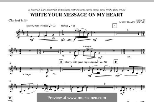 Write Your Message On My Heart: Clarinet part by Mark Hayes