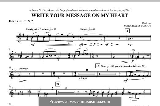 Write Your Message On My Heart: F Horn 1,2 part by Mark Hayes