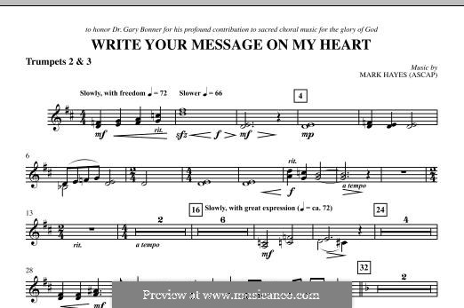 Write Your Message On My Heart: Bb Trumpet 2,3 part by Mark Hayes