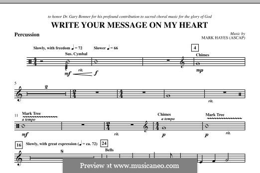 Write Your Message On My Heart: Percussion part by Mark Hayes