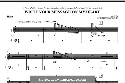 Write Your Message On My Heart: Harp part by Mark Hayes
