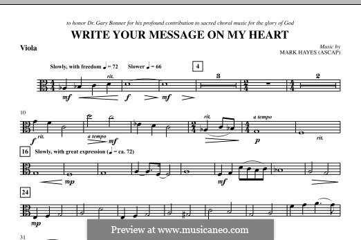 Write Your Message On My Heart: Viola part by Mark Hayes