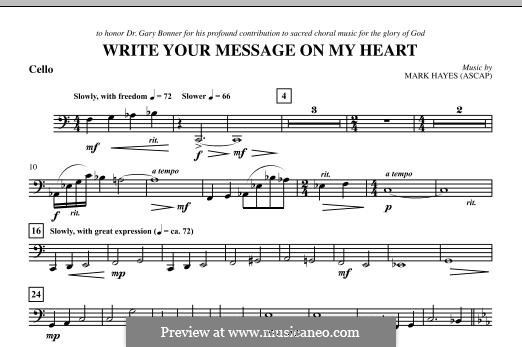 Write Your Message On My Heart: Cello part by Mark Hayes