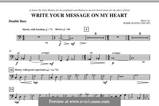 Write Your Message On My Heart: Double Bass part by Mark Hayes