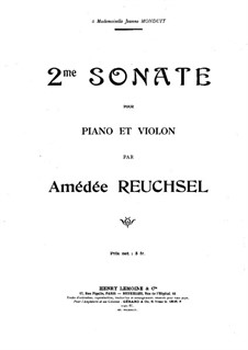 Sonata for Violin and Piano No.2: Score by Amédée Reuchsel