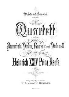 Piano Quartet in F Minor, Op.6: Full score by Prinz Heinrich Reuss
