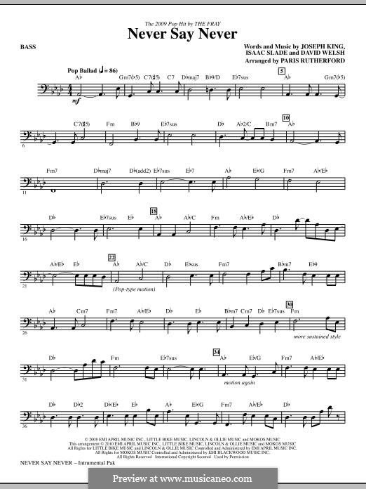 Never Say Never (The Fray): Bass part by David Welsh, Isaac Slade, Joseph King