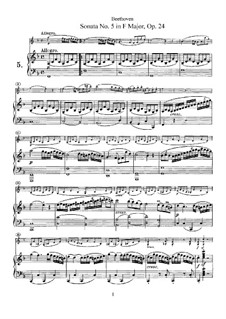 Sonata for Violin and Piano No.5 'Spring', Op.24: Score, solo part by Ludwig van Beethoven