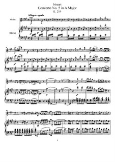 Concerto for Violin and Orchestra No.5 in A Major 'Turkish', K.219: Arrangement for violin and piano – score, solo part by Wolfgang Amadeus Mozart
