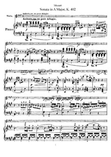 Sonata for Violin and Piano No.29 in A Major, K.402: Score, solo part by Wolfgang Amadeus Mozart