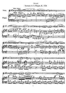 Sonata for Violin and Piano No.35 in A Major, K.526: Score, solo part by Wolfgang Amadeus Mozart