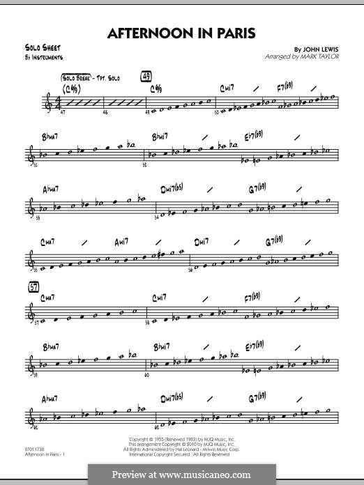 Afternoon in Paris: Bb Solo Sheet part by John Aaron Lewis