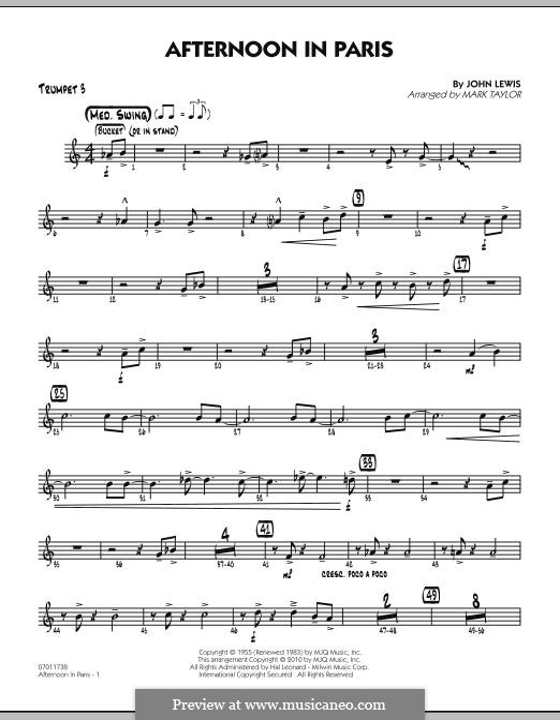 Afternoon in Paris: Trumpet 3 part by John Aaron Lewis