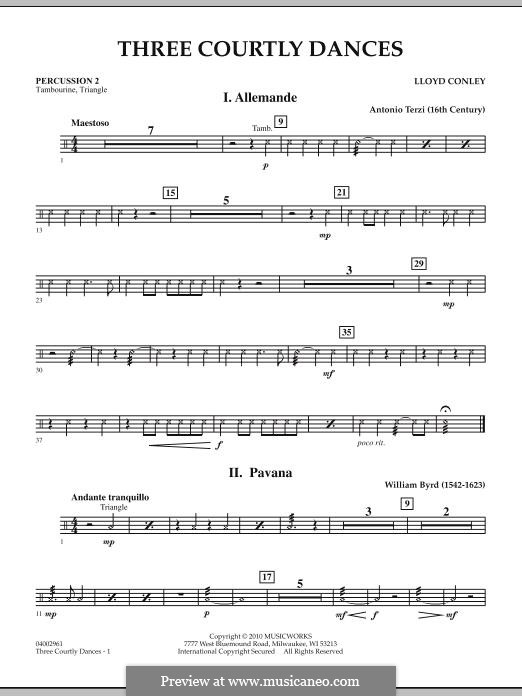 Three Courtly Dances: Percussion 2 part by Lloyd Conley