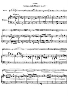 Sonata for Violin and Piano in E Minor, K.304: Score, solo part by Wolfgang Amadeus Mozart