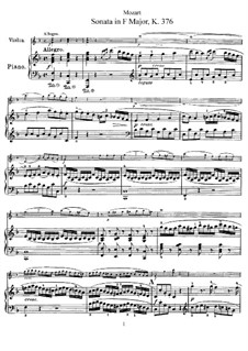 Sonata for Violin and Piano No.24 in F Major, K.376: Score, solo part by Wolfgang Amadeus Mozart