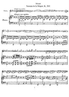Sonata for Violin and Piano No.18 in G Major, K.301: Score, solo part by Wolfgang Amadeus Mozart