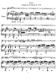 Sonata for Violin and Piano No.27 in G Major, K.379: Score, solo part by Wolfgang Amadeus Mozart