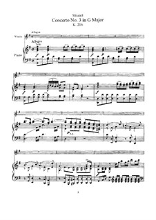 Concerto for Violin and Orchestra No.3 in G Major, K.216: Arrangement for violin and piano by Wolfgang Amadeus Mozart
