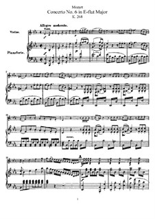 Concerto for Violin and Orchestra No.6 in E Flat Major, K.268: Arrangement for violin and piano – score, solo part by Wolfgang Amadeus Mozart