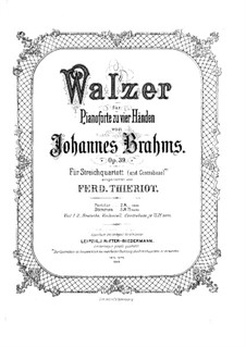 Complete set: Arrangement for string quartet and double bass (ad libitum) by Johannes Brahms