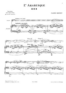 Arabesque No.1: For violin and piano by Claude Debussy