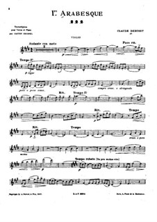 Two Arabesque, L.66: Arabesque No.1, for violin and piano – solo part by Claude Debussy