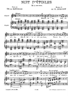 Nuit d'étoiles (Starry Night), L.4: Piano-vocal score (French text) by Claude Debussy