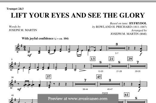 Lift Your Eyes and See The Glory: Bb Trumpet 2,3 part by Rowland Huw Prichard