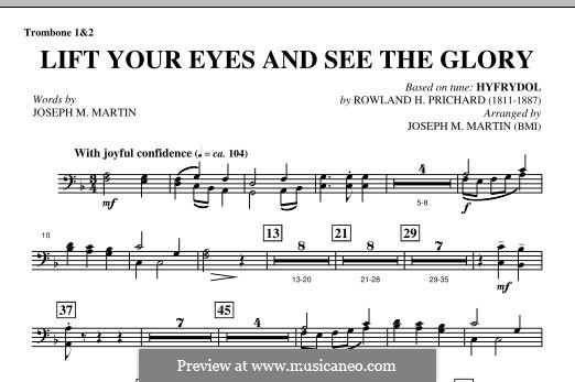 Lift Your Eyes and See The Glory: Trombone 1 & 2 part by Rowland Huw Prichard