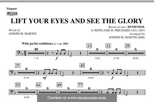 Lift Your Eyes and See The Glory: Timpani part by Rowland Huw Prichard