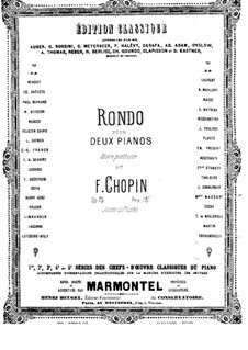 Rondo in C Major, Op.73: For two pianos four hands – piano I part by Frédéric Chopin