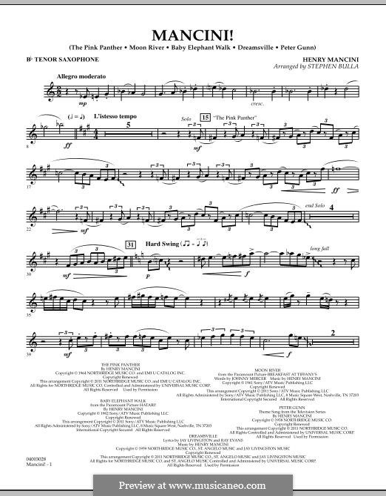 Mancini!: Bb Tenor Saxophone part by Henry Mancini